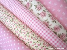 PINK 100% COTTON FABRIC BUNDLE. 5 FAT 1/4's SOFT POPLIN QUILT/PATCHWORK MATERIAL