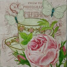 VINTAGE TEA CUP WITH PINK ROSE 2 single LUNCH paper napkins for decoupage 3-ply