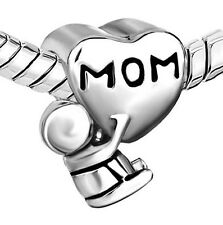 1Pcs New MOM Heart Baby Silver Charm Bead Suit 925 Necklace Bracelet Chain