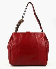 "YVES SAINT LAURENT YSL RED LEATHER ""MOMBASA"" HORN TOTE SHOULDER HANDBAG PURSE"