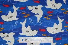 Sharks Fish Royal Blue Water Boys Childrens Kids Flannel Fabric  BTY (J11) >