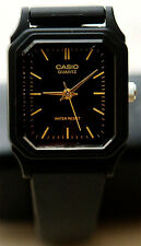Casio LQ-142-1E Ladies Analog Watch Classic Black and Gold Resin Band New