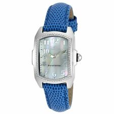 Invicta 19520 Lady's MOP Dial Blue Leather Strap Crystal Watch