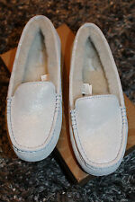 NEW UGG Australia White Ansely I Do! Sparkle Moccasin Winter Flat Slippers US 9