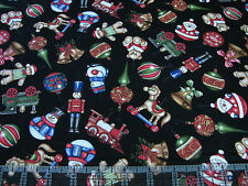 3 Yards Quilt Cotton Fabric - RJR Christmas Elegance Tossed Toys Ornaments Blk
