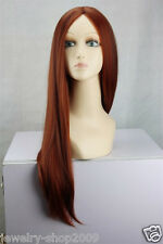 New Cosplay Copper Red & Dark Brown Mix Straight Halve Long Women Full Wig