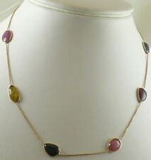 Multicolor Sapphire Tin Cup Necklace with 14k Yellow Gold Chain and Lobster Lock