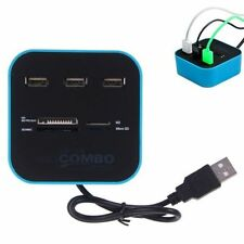 All In One 3 Ports USB 2.0 HUB Multi-card Memory Card Reader Combo Adapter TF SD