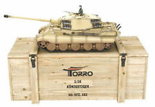 Torro 1/16 RC GERMAN KING TIGER IR CARRO ARMATO DESERTO 2.4ghz metallo 360 scatola in legno