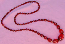 Vintage Antique Art Deco Baltic Cherry Amber Bead Strand Long Flapper Necklace G