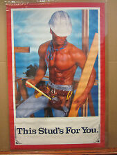 vintage 1989 This Stud's For You poster hot guy construction  4385