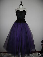 Womens NEW Long Black Purple tutu skirt 10 LINED gypsy fairy goth lagenlook SML