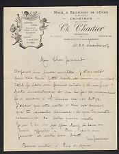 """CHARTRES (28) HOTEL-RESTAURANT DE L'OUEST """"Ch. CHARTIER Propriétaire"""" en 1927"""