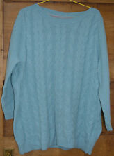 Maine wool mix with cashmere boat neck teal jumper size 16