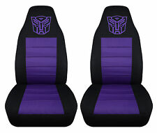 nice set of black-purple front car seat covers with transformer design