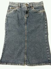Calvin Klein Denim Skirt Size 1 Modest No Slits Cotton Spandex Stretch