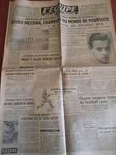JOURNAL L'EQUIPE CYCLISME GUIDO MESSINA CHAMPION DU MONDE DE POURSUITE 1949 (A)