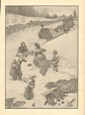 Horse Drawn Sleigh, Winter, Snow, A.B. Frost, Vintage, 1904 Antique Art Print,