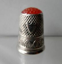 Vintage Sterling Silver UNUSUAL GLASS TOP thimble