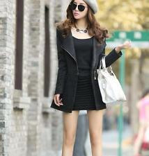 Korean Women's Slim Fit Trench Long Coat Wool Blend Fashion Outwear Jacket Coats