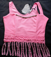 Girls Summer Slim-Fit  Tank Top, Trim on the Neck and Embroidered front Waist