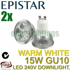 2 X EPISTAR LED GU10 15W bulb downlight spotlight globe lamp WARM WHITE 240V