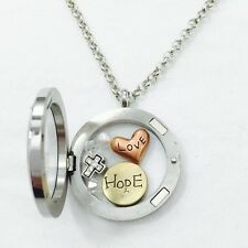 Round Floating Charms Locket Words Love Hope Rhinestone Cross Fashion Necklace