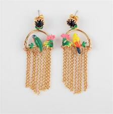 Les Néréides Tropical Bird on a Flowered Branch and Cascade of Chains Earrings