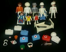 Vintage Geobra Playmobil Figures People Medical Wheelchairs Hospital Medic Cast