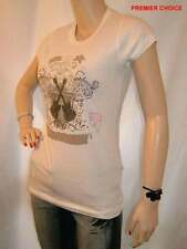 NEW CRYSTAL WHITE SILVER BEAD `BORN TO BE ROCK` ROUND NECK COTTON TOP 8