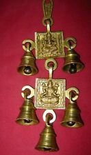 5 BRASS BELLS HANGING HINDU GOD GANESHA STATUE ENGRAVED FOR LUCK HOME TEMPLE USE