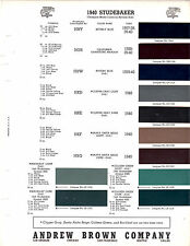 1937 1938 1939 1940 STUDEBAKER ANDREW BROWN COMPANY 3940 BROLITE PAINT CHIPS