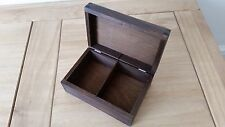 WOODEN TEA BAG BOX WHIT TWO COMPARTMENTS, PLAIN WOOD, IN  BROWN COLOUR