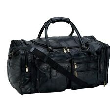 "Black Genuine Leather 25"" Travel Tote Shoulder Duffle Bag Gym Overnight Carry On"