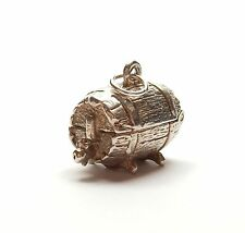 Vintage 925 Sterling Silver WHISKEY / BEER BARREL OPENS TO DRUNK MAN Charm 5.5g