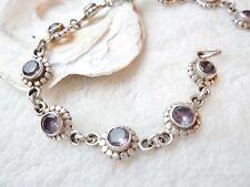Silber Armkette Facettenschliff Amethyst natürlich 20,5 cm lila Armband Ketten