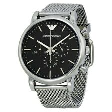 *NEW* EMPORIO ARMANI AR1808 MEN'S LUIGI CHRONOGRAPH, SILVER WATCH MESH STRAP