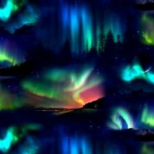 Landscape Medley Northern Lights Aurora Borealis Scene Cotton Fabric Fat Quarter