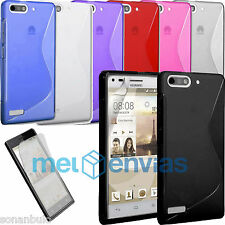 2 Fundas + 1  PROTECTOR para HUAWEI ASCEND G6 ORANGE GOVA GEL TPU S-LINE Colores