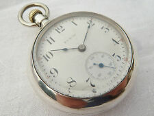 Large 58mm Antique Fine Sterling Silver Pocket Watch by Elgin NO RESERVE