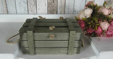 SHABBY LIGHTWEIGHT RUSTIC WOODEN BOX CRATE CHEST LID STORAGE, WEDDINGS SMALL SZ