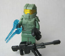 Lego Custom HALO MASTER CHIEF Spartan Minifigure -SAND GREEN- Sniper, Sword