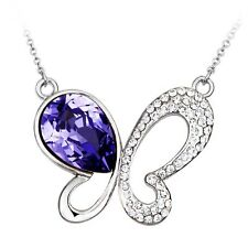 PLATINUM  PURPLE CRYSTAL BUTTERFLY NECKLACE AND CHAIN FREE SHIP IN USA #N82