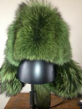 Men/womens Coyote Fur Hat Dyed Green