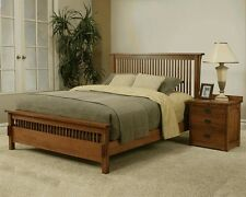 MADE IN THE USA! QUEEN MISSION RIFT & QUARTER SAWN OAK BED BEDROOM SET FURNITURE