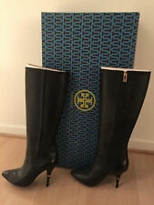 "Tory Burch Black Leather Knee-High 4"" Heel Boots-gold logo-size 8.5-worn once"