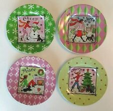 "J Brinley Set of 4 Small Holiday Christmas 6"" Plates Merry Peace Joy Poodle Dog"