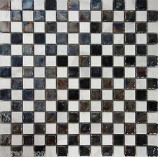 SAMPLE- Checker Black White Glass Natural Stone Mosaic Tile Kitchen Backsplash