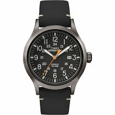 Timex Expedition Scout | Black Leather Strap Black Dial Date | Outdoor TW4B01900