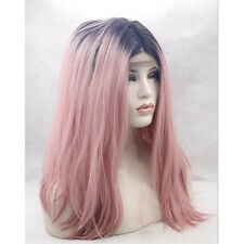 "15"" Lace Front Wig Heat Resistant Synthetic Hair Short Straight 1B/Smoke Pink"
